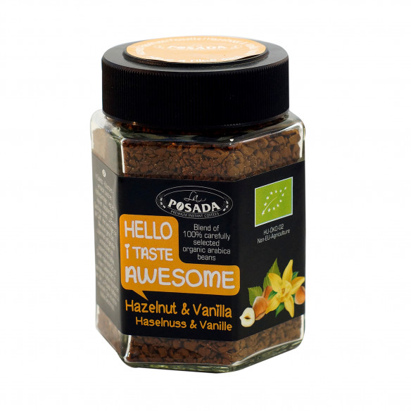Hazelnut & vanilla instant økologisk kaffe - 50 gram