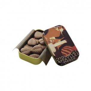 32% Mælkechokolade blade i dåse fra Simon Coll (30g)