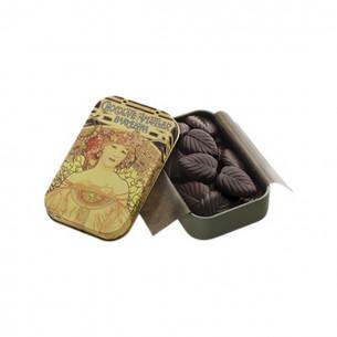 70% Mørk Chokolade blade i dåse fra Simon Coll (30g)