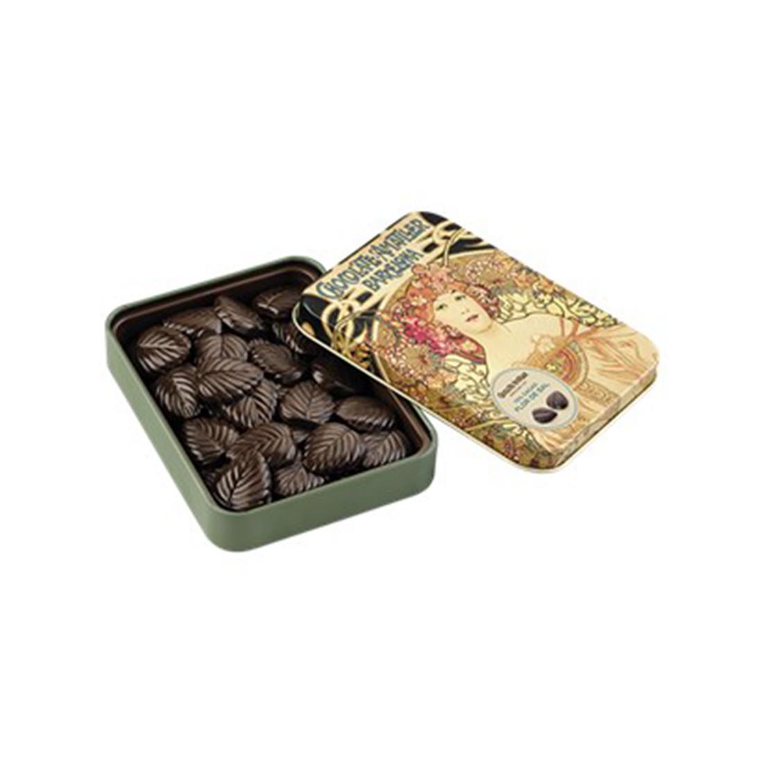 Billede af Simon Coll, 70% Mørk chokolade m salt i dåse - 60 gram