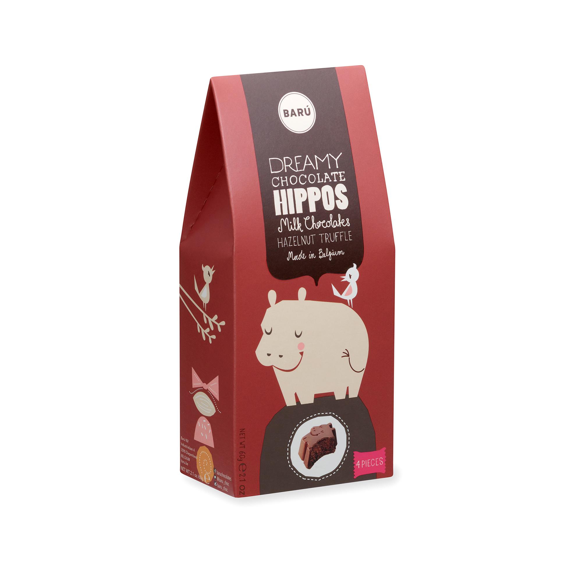 Image of Dreamy Hippos Milk Chocolate Hazelnut Truffle - 60 gram